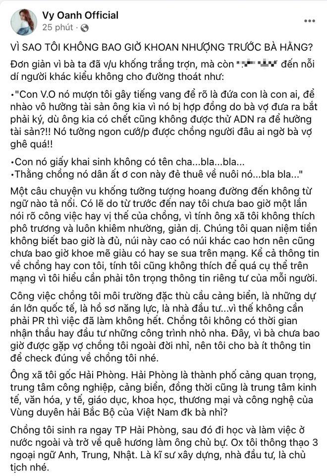 """Vy Oanh đáp trả bà Phương Hằng, hé lộ profile """"khủng"""" ông xã"""
