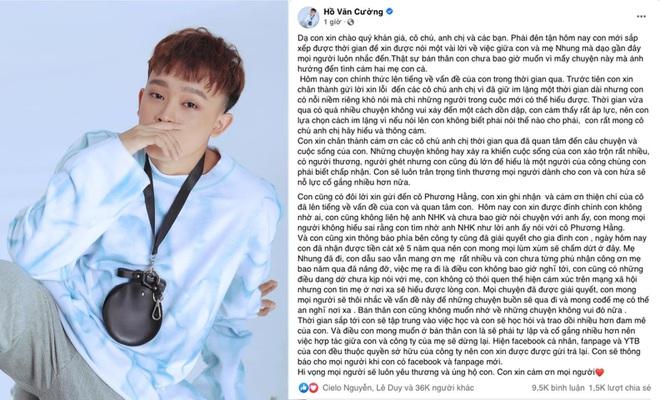Hồ Văn Cường dừng hợp tác, trả lại kênh YouTube cho công ty Phi Nhung - ảnh 1