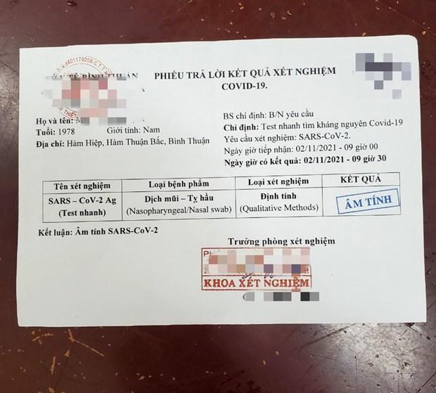 Bình Thuận: Triệt phá đường dây làm giả phiếu xét nghiệm COVID-19 - ảnh 1