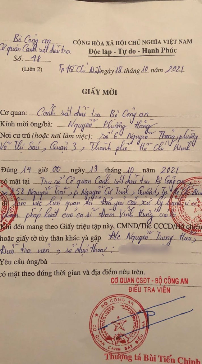 """Công an mời lên giải quyết vụ kiện có liên quan đến Đàm Vĩnh Hưng, bà Phương Hằng """"xin dời lịch hẹn"""" vì lý do này!"""