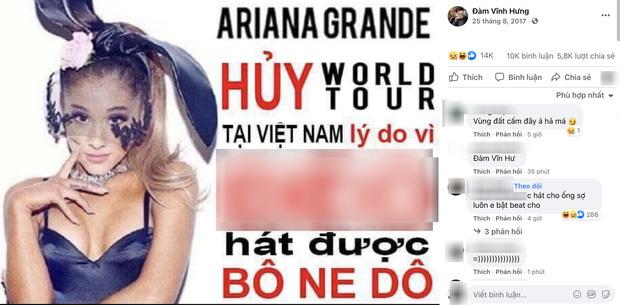 """Netizen """"đào"""" bức ảnh gây tranh cãi của Đàm Vĩnh Hưng: Khẳng định Ariana Grande huỷ show vì bolero, có cả từ ngữ tục tĩu"""