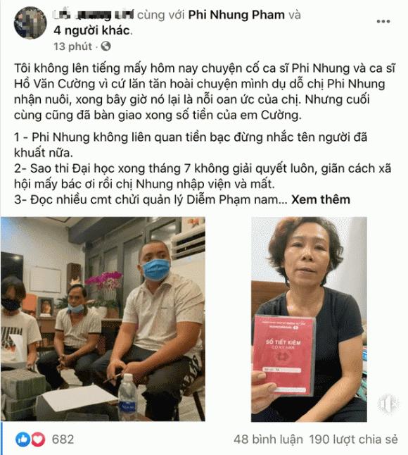 Quản lý truyền thông của Phi Nhung lên tiếng làm rõ lý do bàn giao tiền muộn cho Hồ Văn Cường - ảnh 1