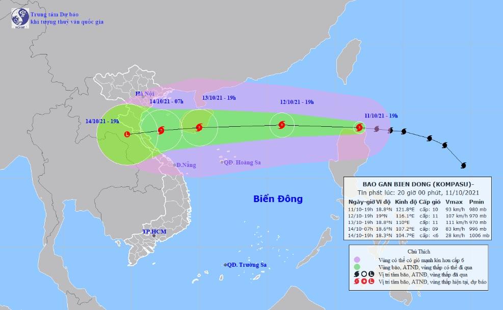 Đêm nay (11/10), bão Kompasu đi vào Biển Đông - ảnh 1