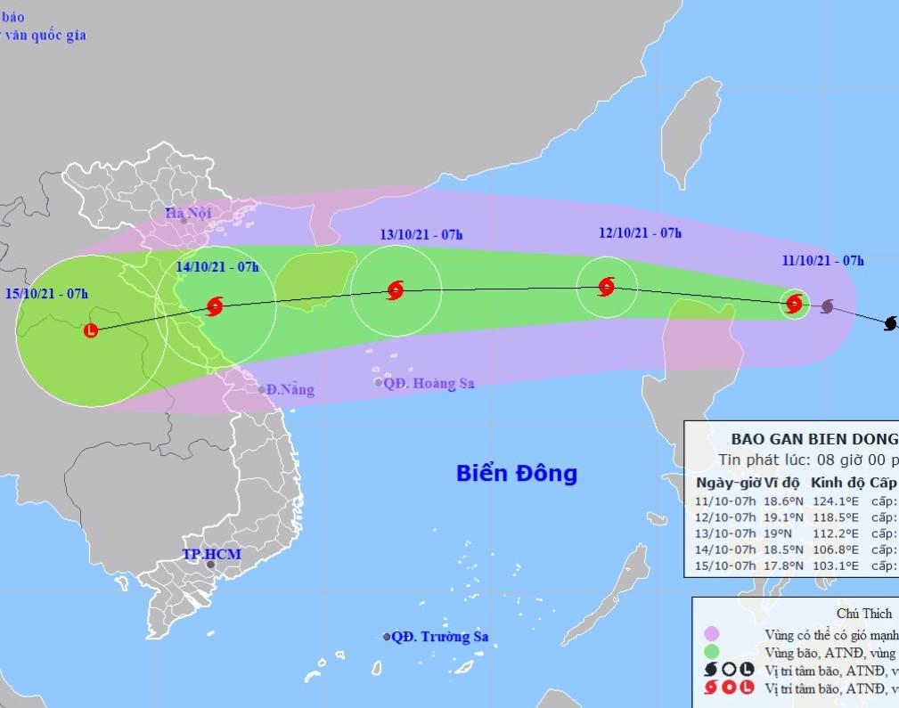 Bão KOMPASU di chuyển nhanh, hướng vào Bắc Bộ, Bắc Trung Bộ - ảnh 1