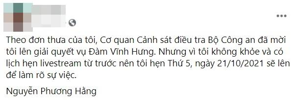 Công an mời bà Phương Hằng làm việc về vụ kiện Đàm Vĩnh Hưng